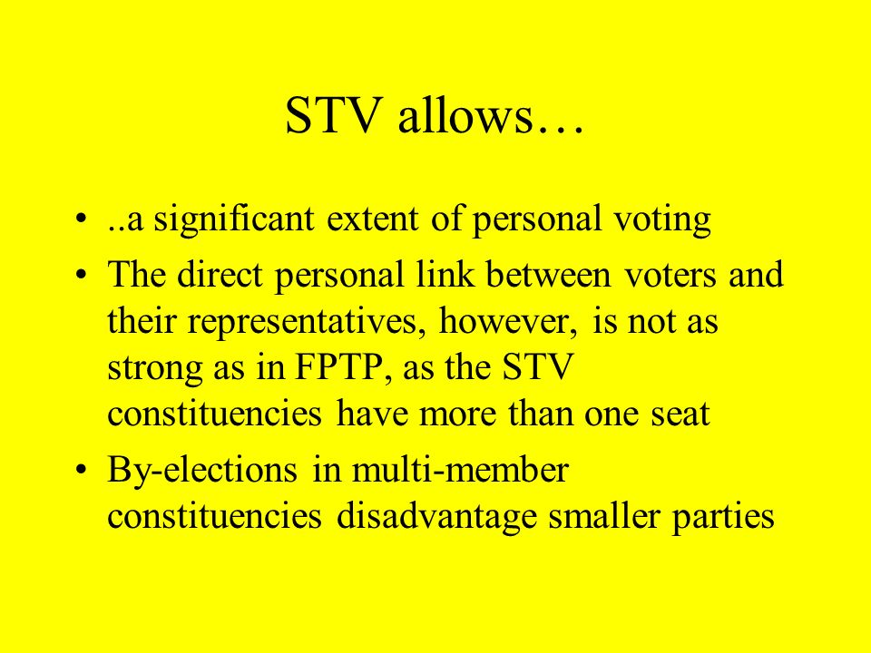 STV allows… ..a significant extent of personal voting