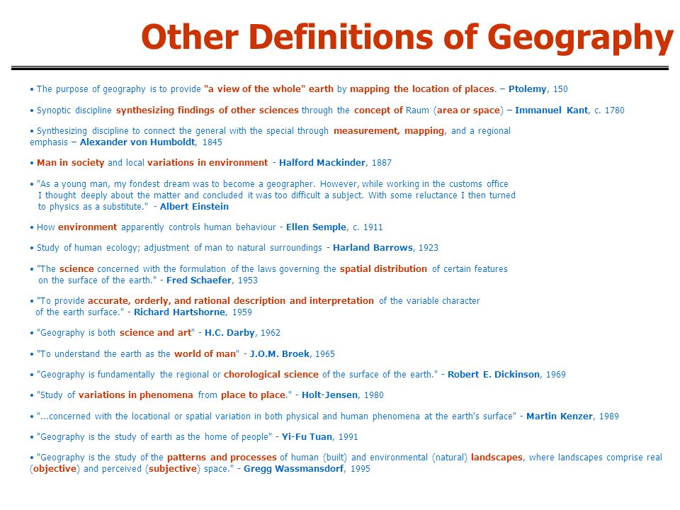 Other Definitions of Geography