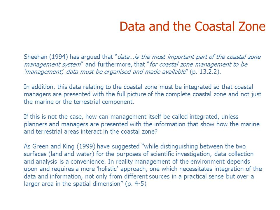 Data and the Coastal Zone