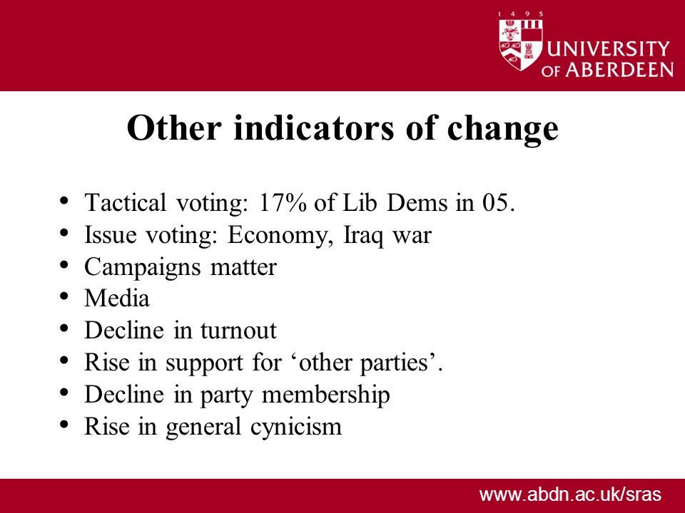 Other indicators of change