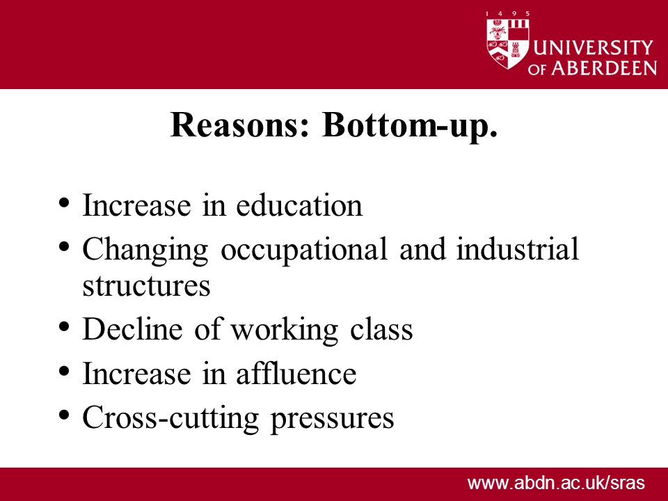 Reasons: Bottom-up. Increase in education