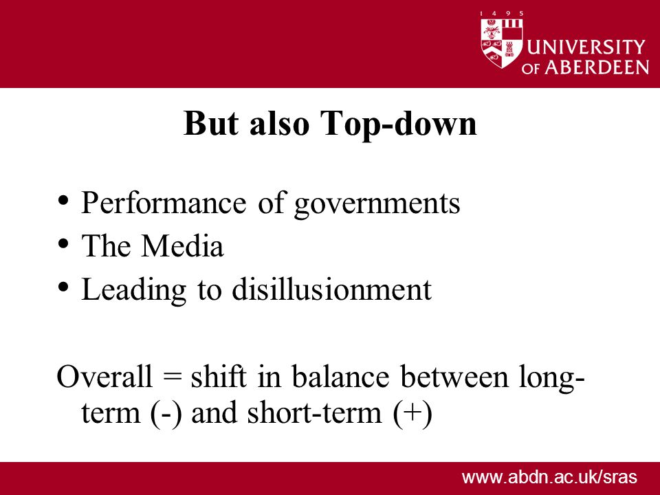 But also Top-down Performance of governments The Media