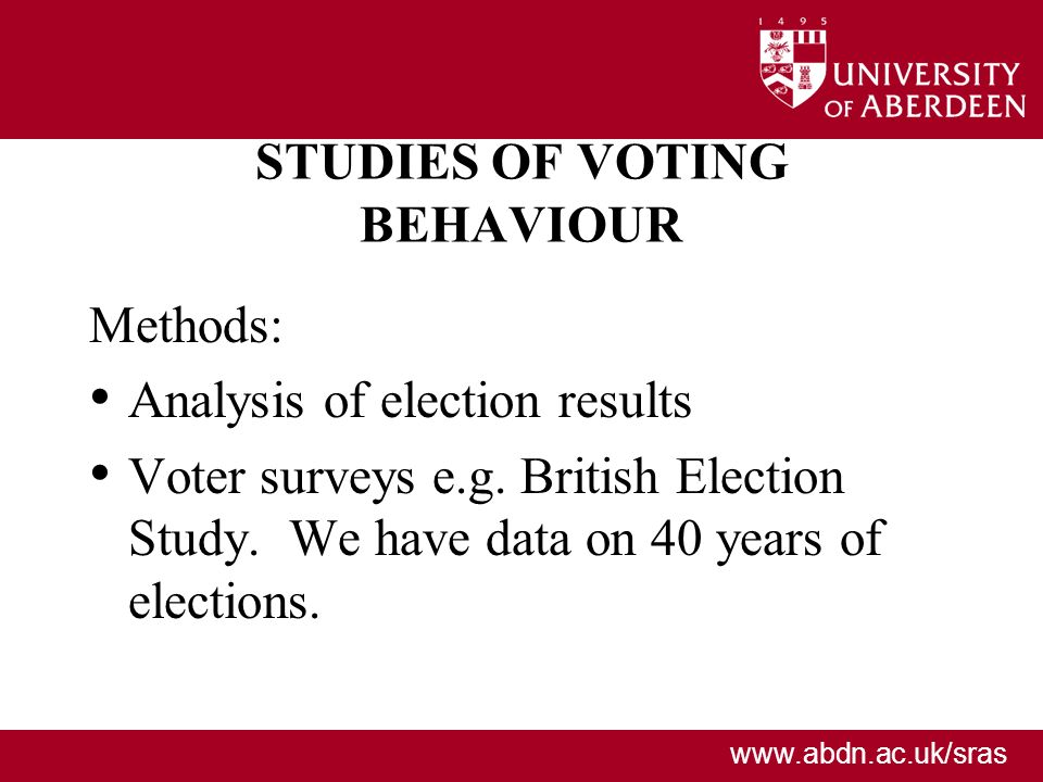 STUDIES OF VOTING BEHAVIOUR