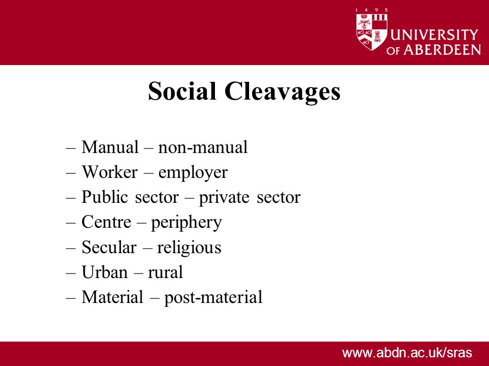 Social Cleavages Manual – non-manual Worker – employer