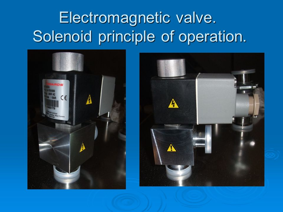 Electromagnetic valve. Solenoid principle of operation.