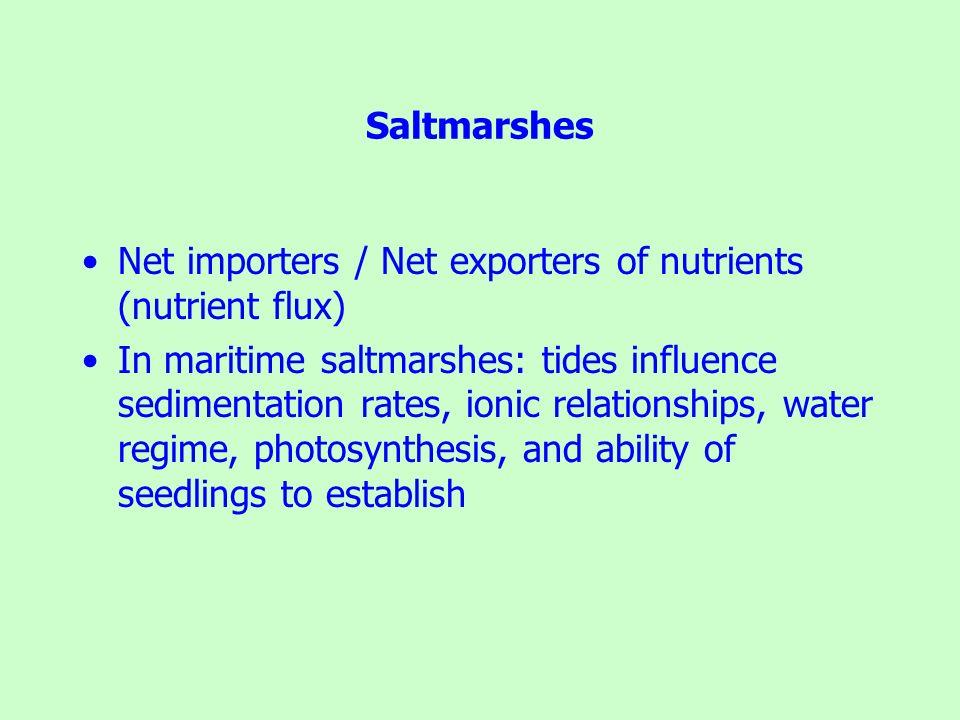 Saltmarshes Net importers / Net exporters of nutrients (nutrient flux)