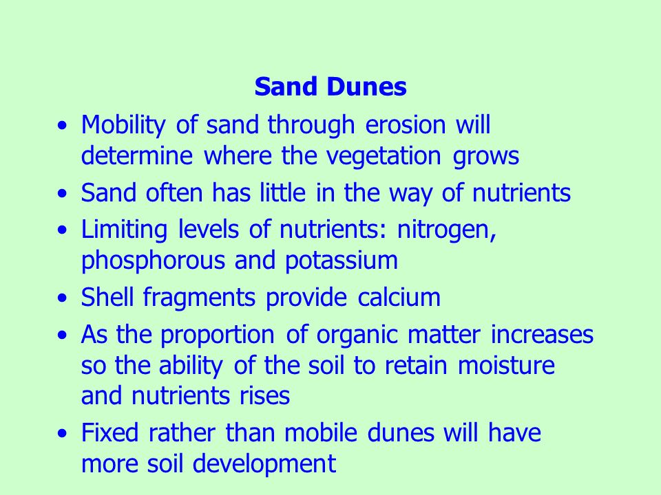 Sand Dunes Mobility of sand through erosion will determine where the vegetation grows. Sand often has little in the way of nutrients.