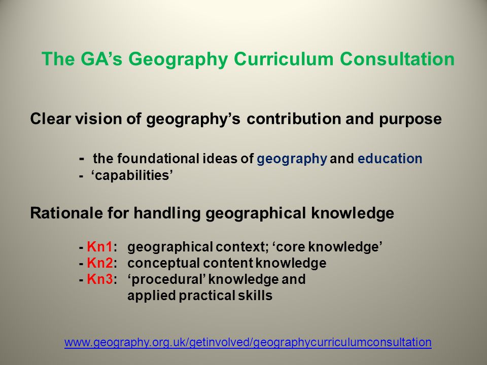 The GA's Geography Curriculum Consultation