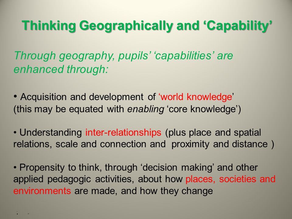 Thinking Geographically and 'Capability'