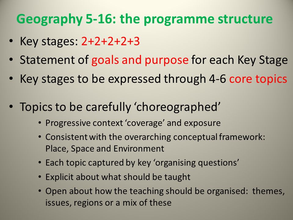 Geography 5-16: the programme structure