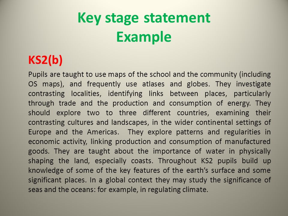 Key stage statement Example