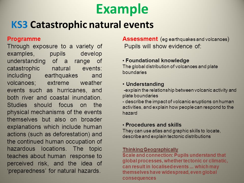 Example KS3 Catastrophic natural events Programme