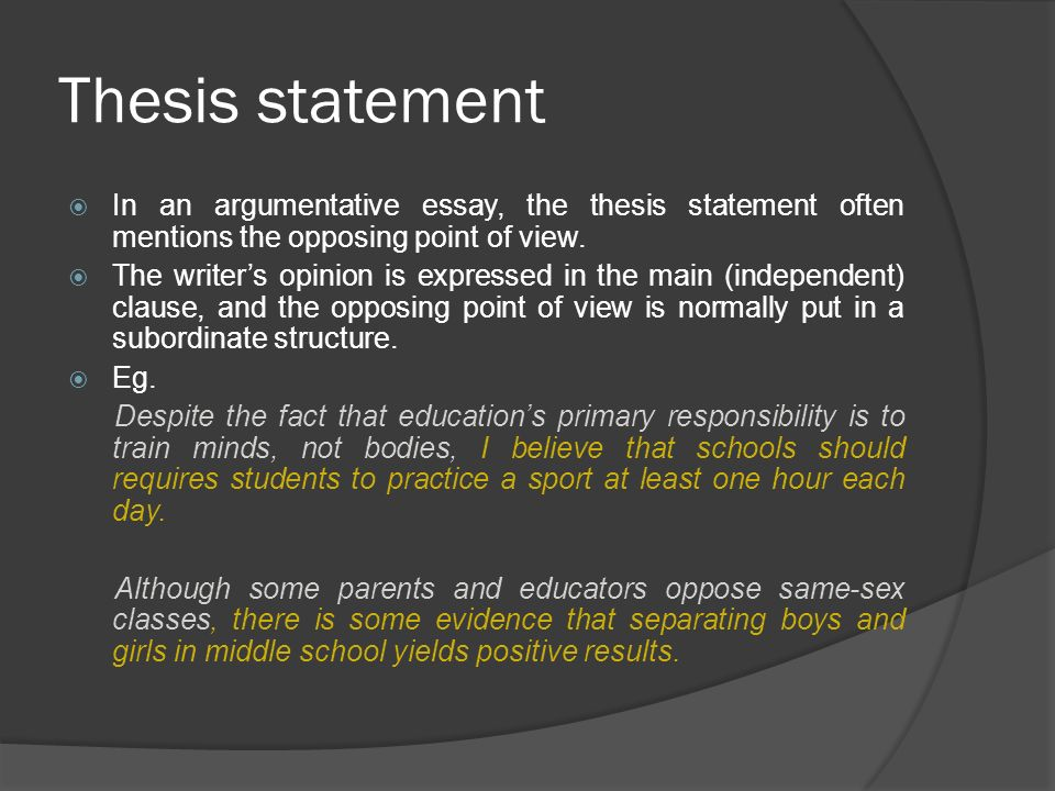 argumentative thesis exercises Opinion, argument or persuasive writing exercises and worksheets opinion and argument writing is perhaps the most popular and essential form of academic writing for learners of english it's a great topic for teaching basic essay structure as it gives students an opportunity to express themselves.