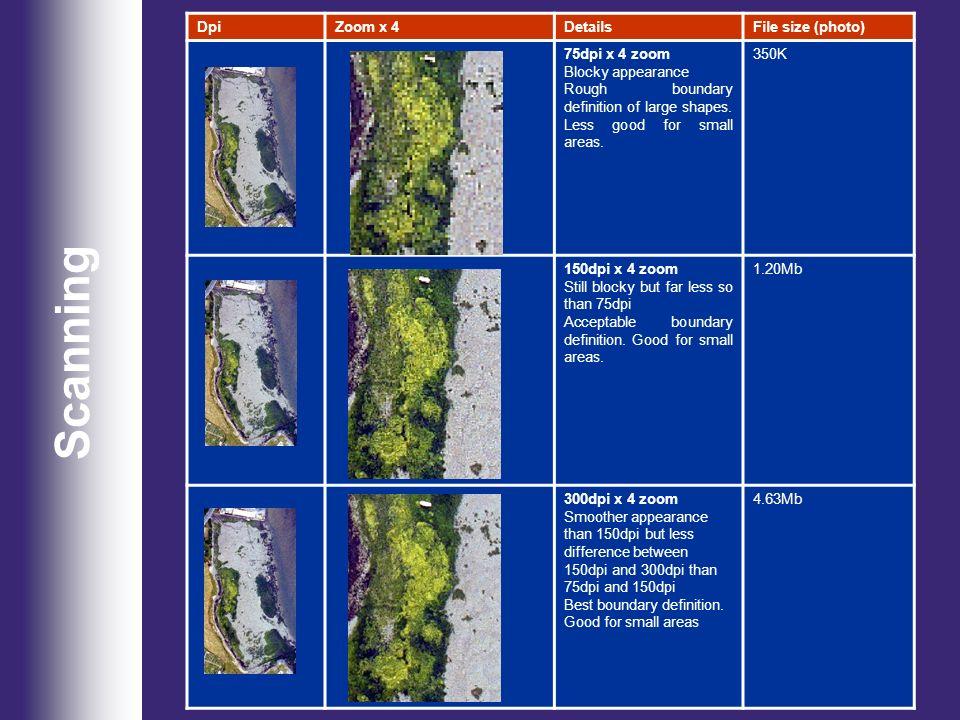 Scanning Dpi Zoom x 4 Details File size (photo) 75dpi x 4 zoom