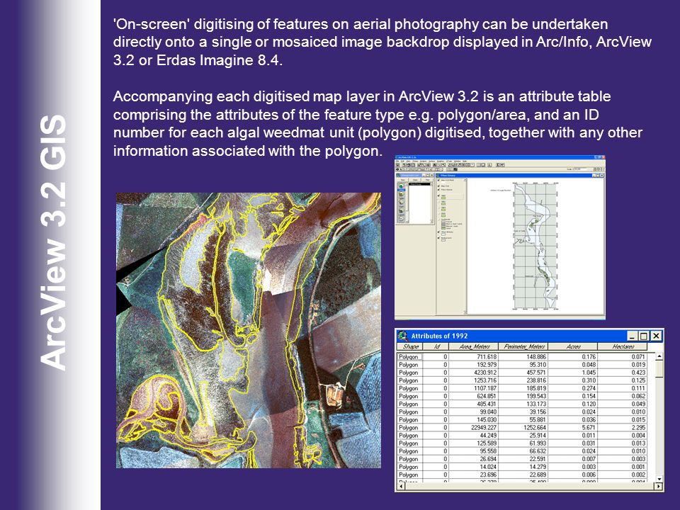 On-screen digitising of features on aerial photography can be undertaken directly onto a single or mosaiced image backdrop displayed in Arc/Info, ArcView 3.2 or Erdas Imagine 8.4.