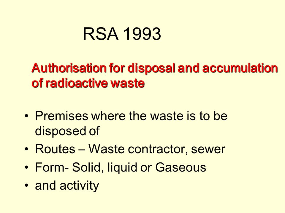 Authorisation for disposal and accumulation of radioactive waste