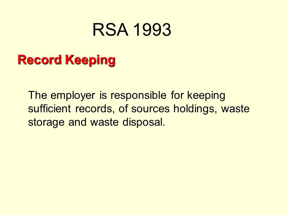 RSA 1993 Record Keeping.