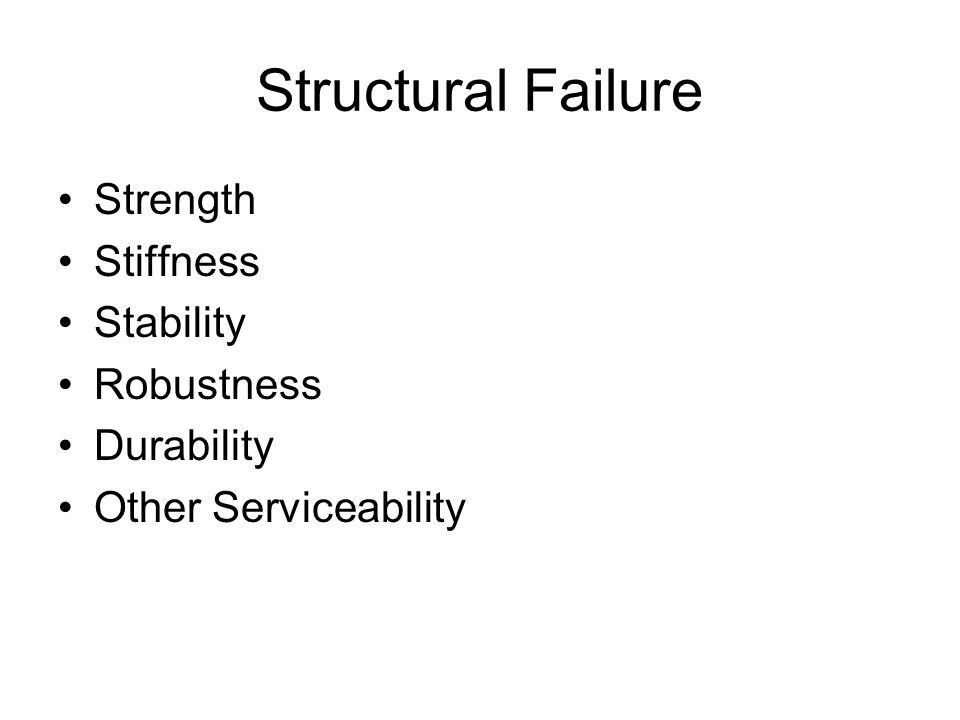 Structural Failure Strength Stiffness Stability Robustness Durability