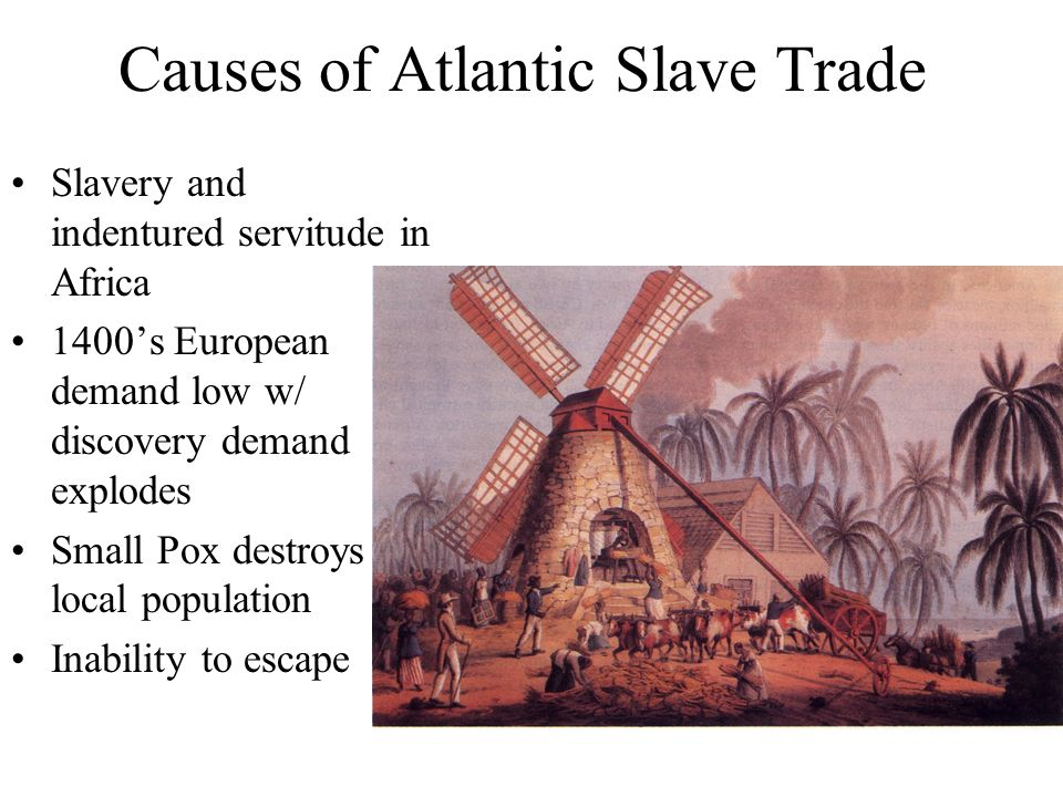 atlantic slave trade causes and The atlantic slave trade or transatlantic slave trade involved the transportation by  slave traders  disease (malaria or yellow fever) was the most common cause  of death among sailors a high crew mortality rate on the return voyage was in the .