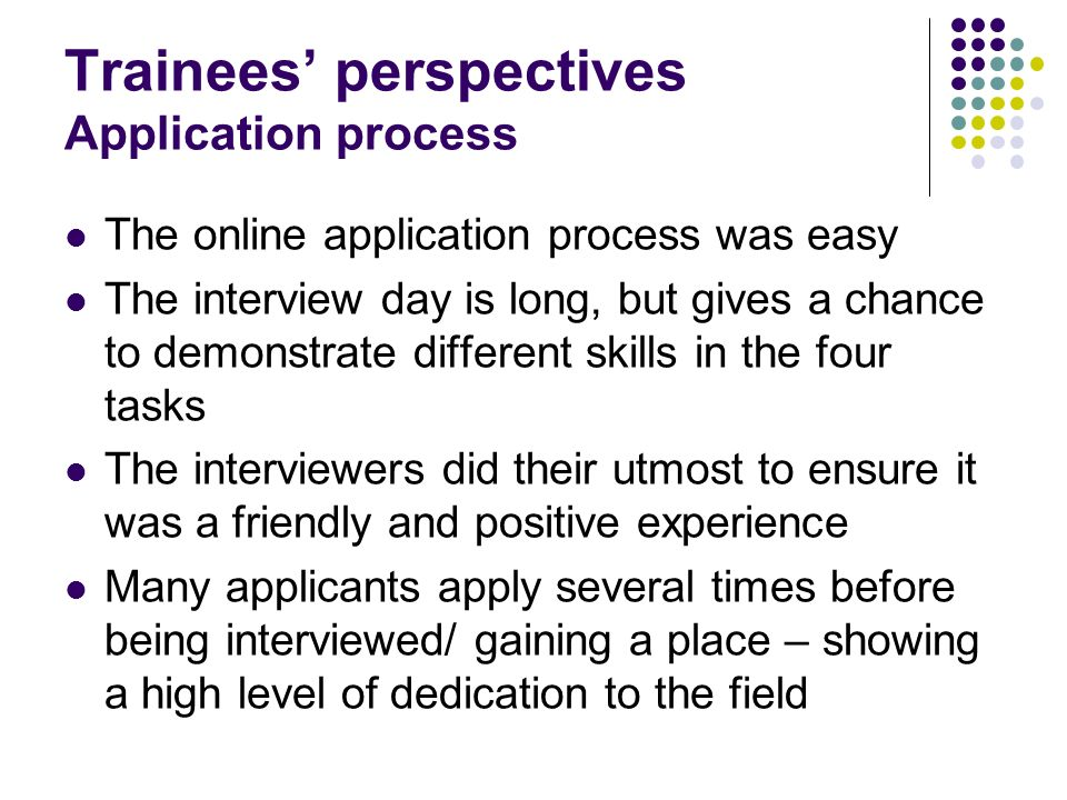 Trainees' perspectives Application process