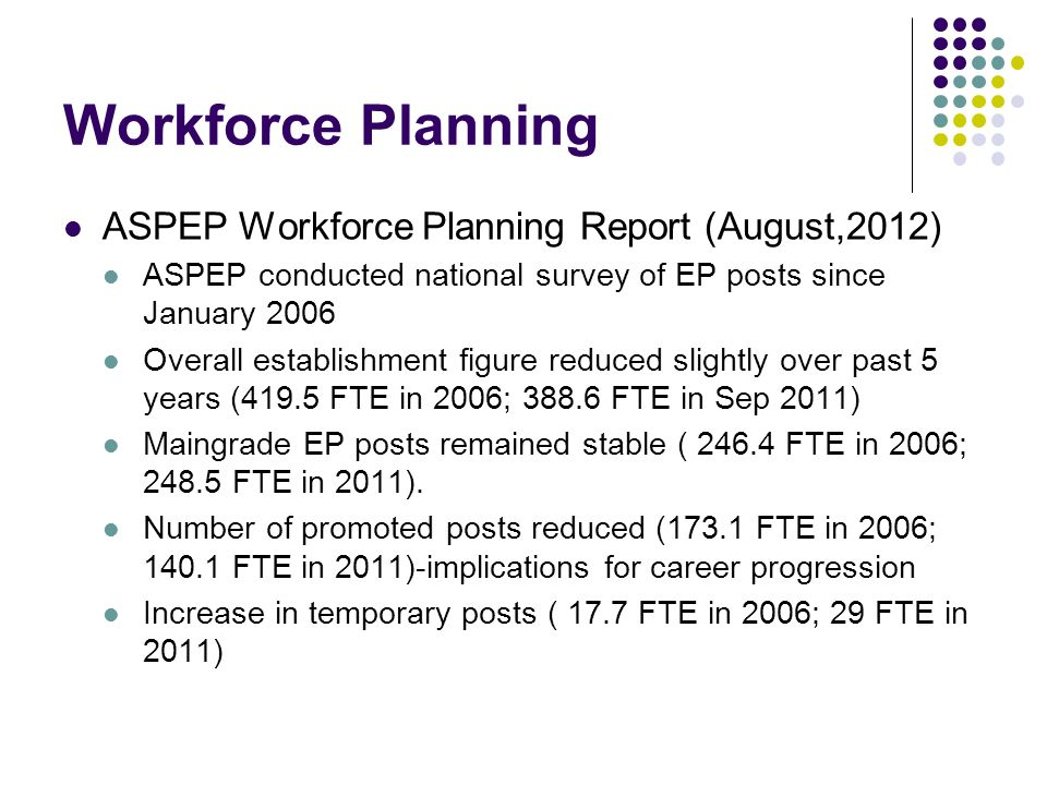 Workforce Planning ASPEP Workforce Planning Report (August,2012)