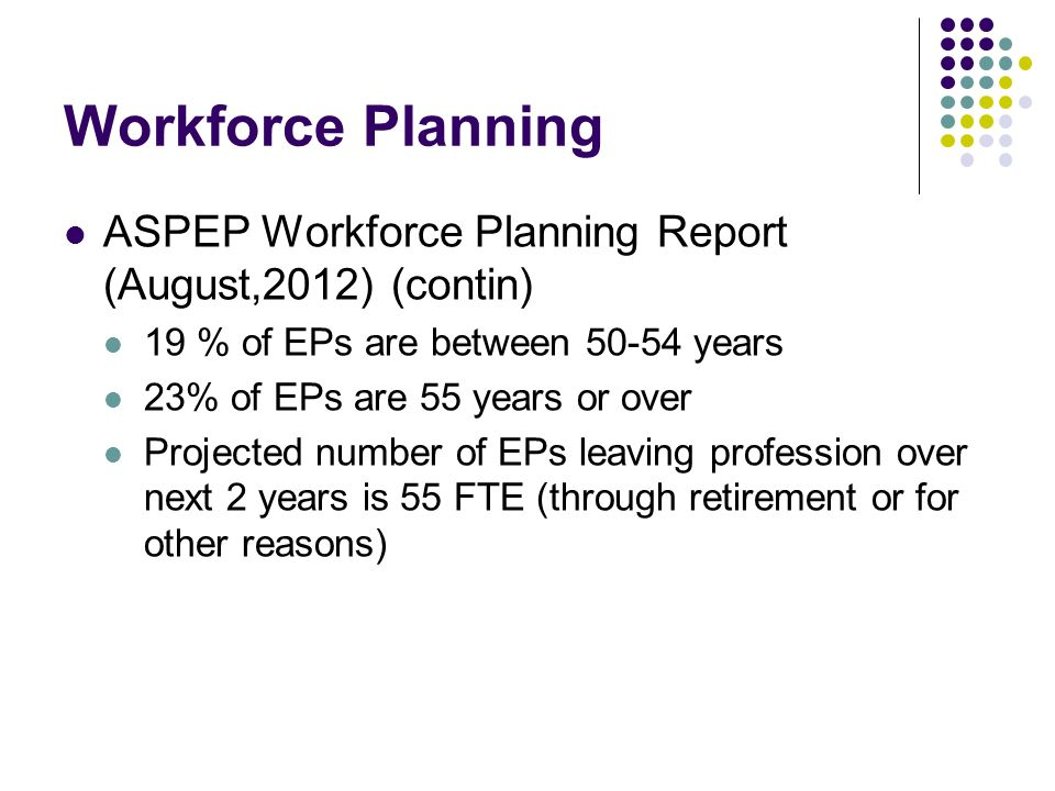 Workforce Planning ASPEP Workforce Planning Report (August,2012) (contin) 19 % of EPs are between 50-54 years.
