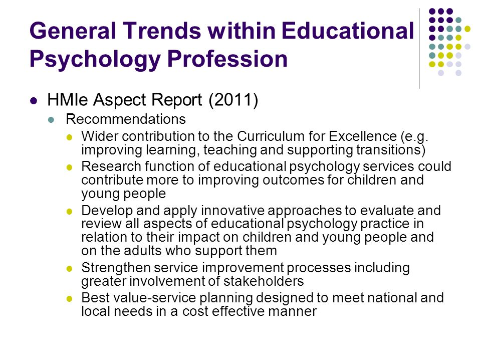 General Trends within Educational Psychology Profession
