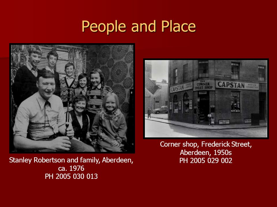 People and Place Corner shop, Frederick Street, Aberdeen, 1950s