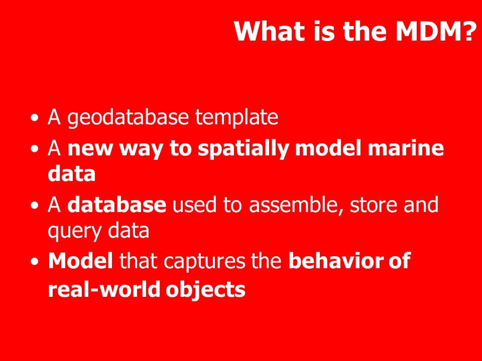 What is the MDM A geodatabase template