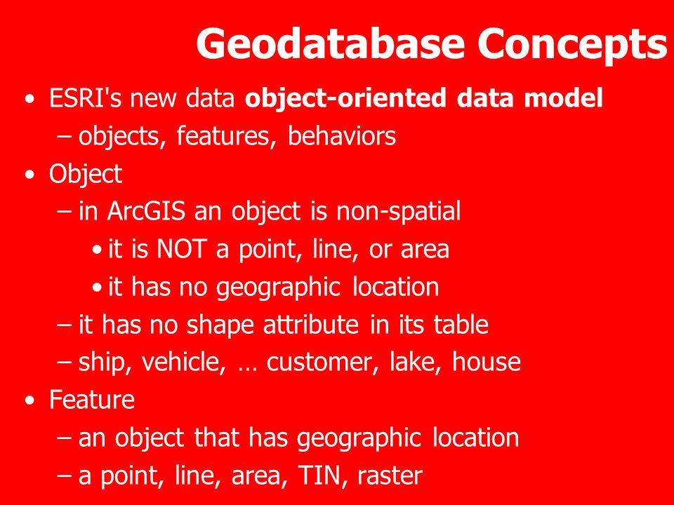 Geodatabase Concepts ESRI s new data object-oriented data model