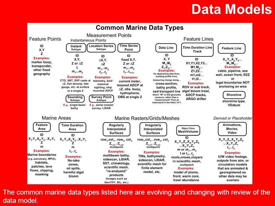Data Models The common marine data types listed here are evolving and changing with review of the data model.