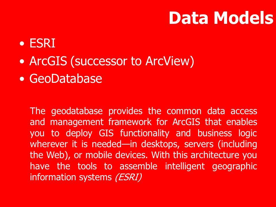 Data Models ESRI ArcGIS (successor to ArcView) GeoDatabase