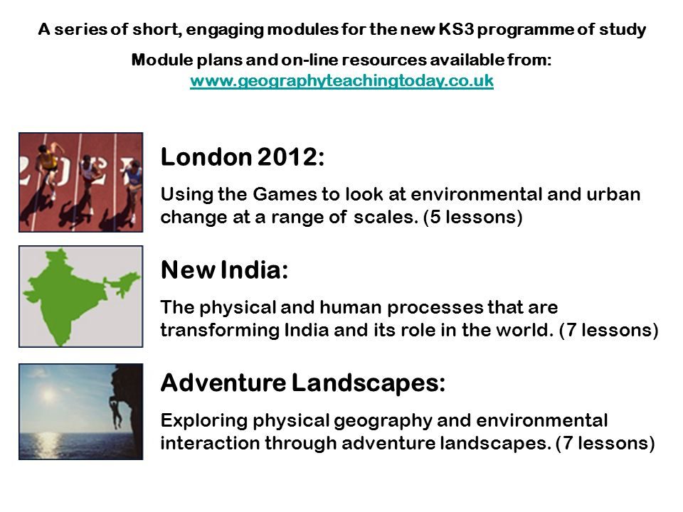A series of short, engaging modules for the new KS3 programme of study