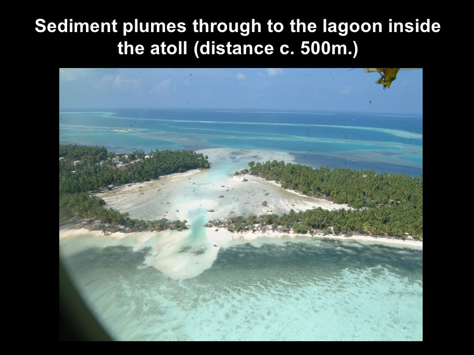 Sediment plumes through to the lagoon inside the atoll (distance c