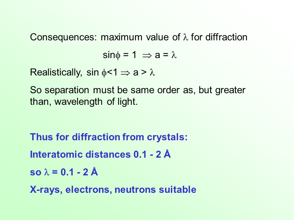 Consequences: maximum value of  for diffraction