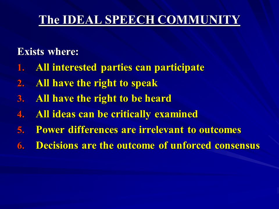 The IDEAL SPEECH COMMUNITY