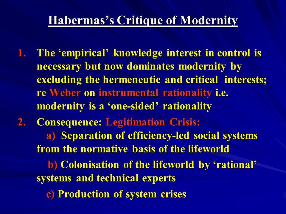 Habermas's Critique of Modernity