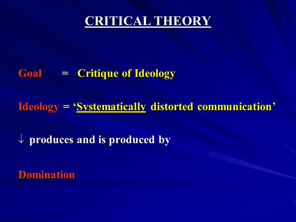 CRITICAL THEORY Goal = Critique of Ideology