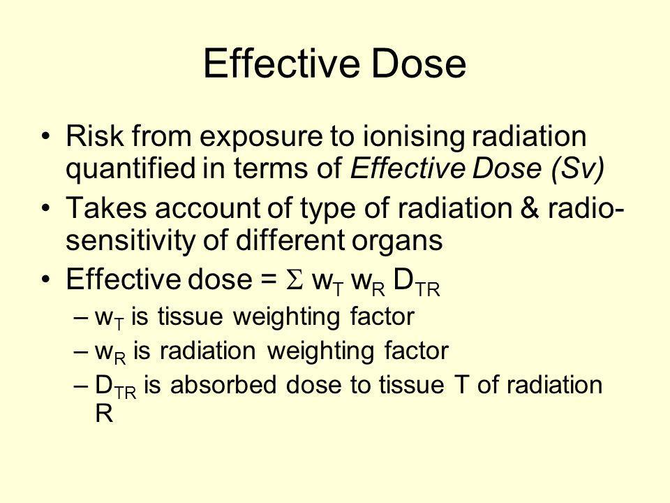 Effective Dose Risk from exposure to ionising radiation quantified in terms of Effective Dose (Sv)
