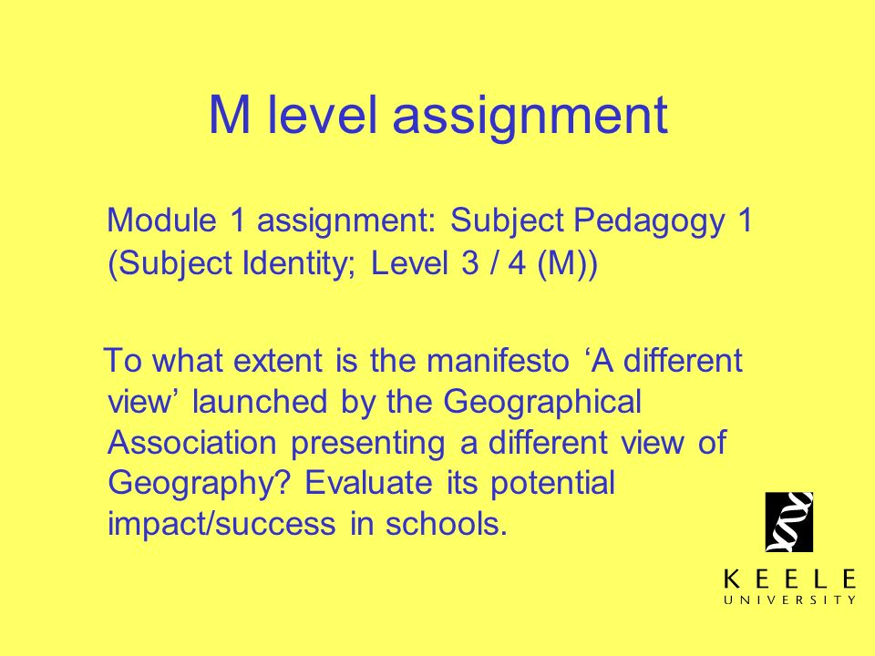 M level assignment Module 1 assignment: Subject Pedagogy 1 (Subject Identity; Level 3 / 4 (M))