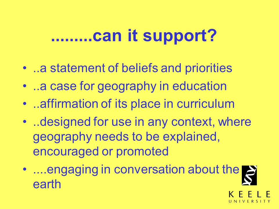 .........can it support ..a statement of beliefs and priorities