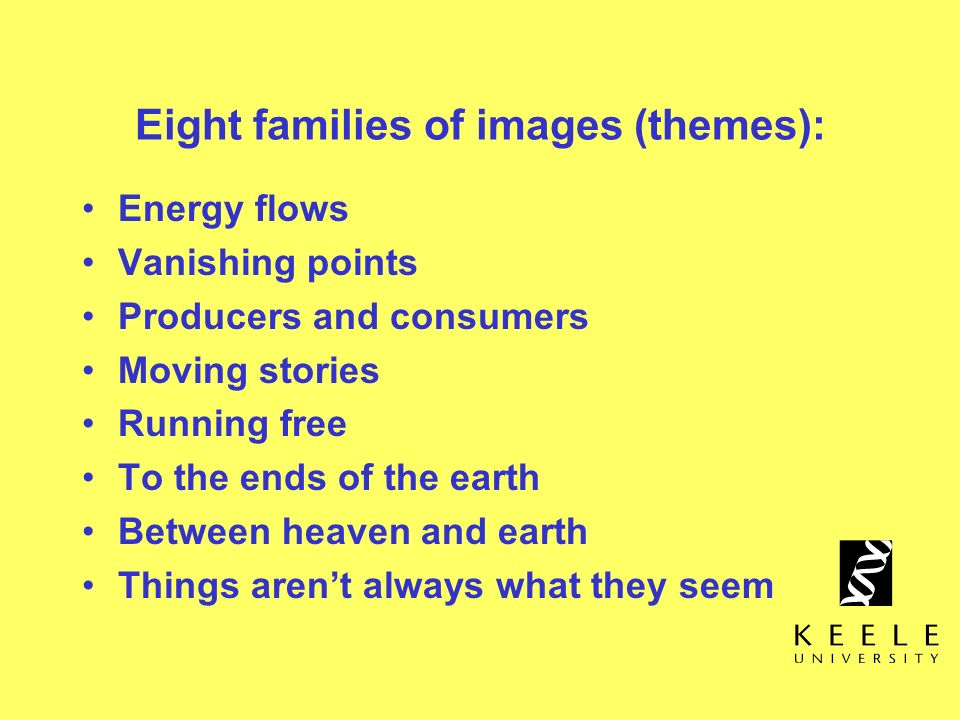 Eight families of images (themes):