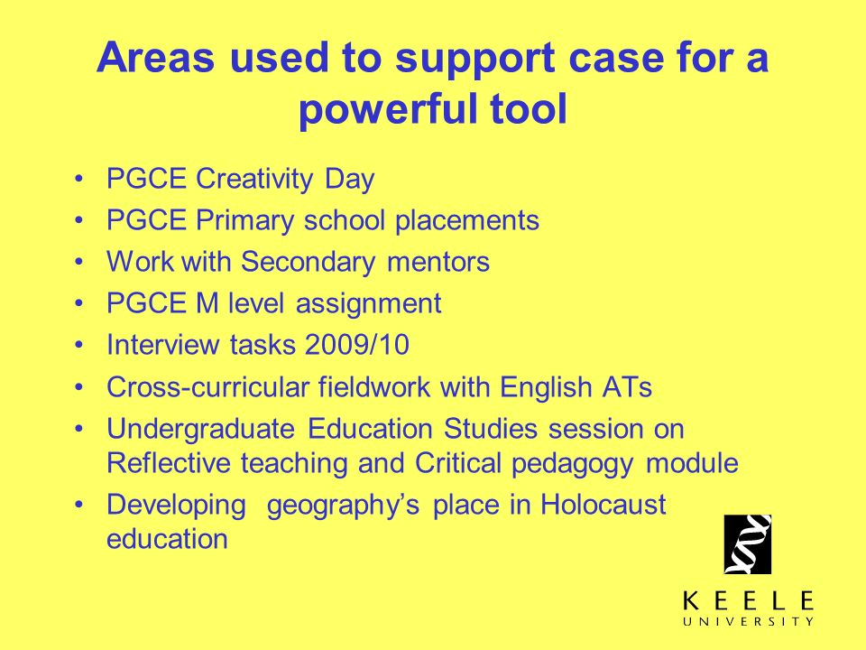 Areas used to support case for a powerful tool