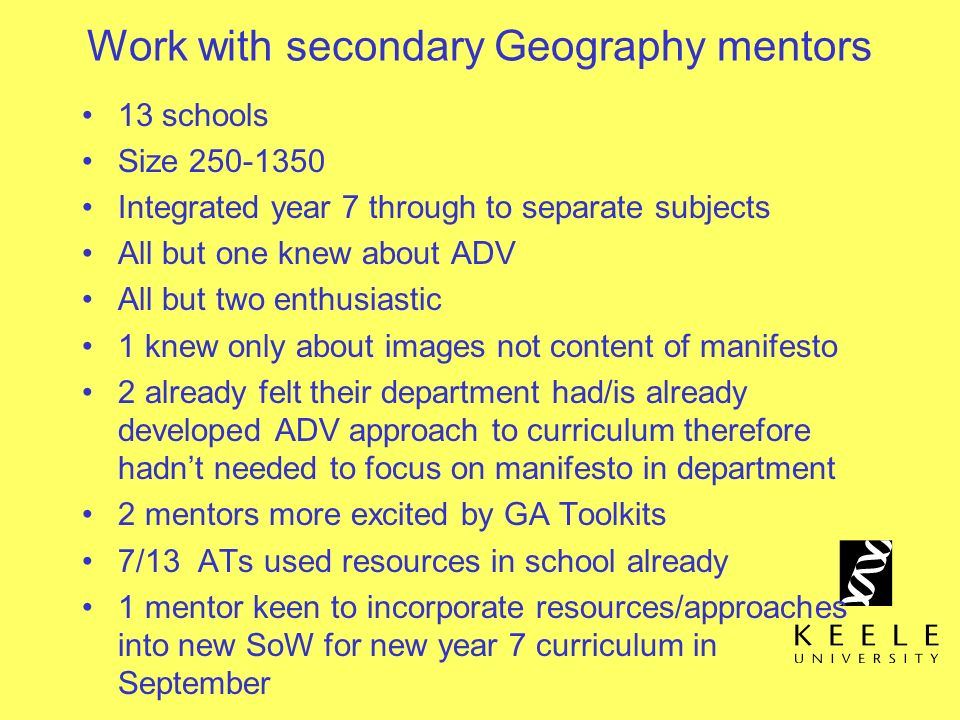 Work with secondary Geography mentors