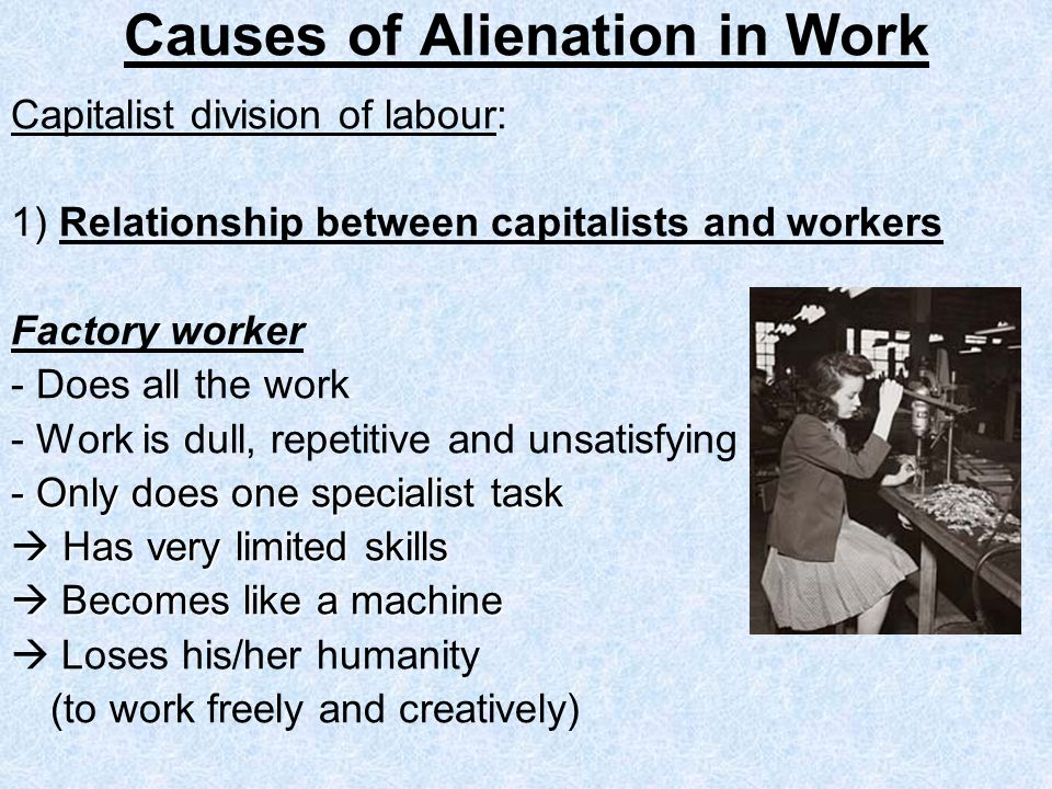 Causes of Alienation in Work