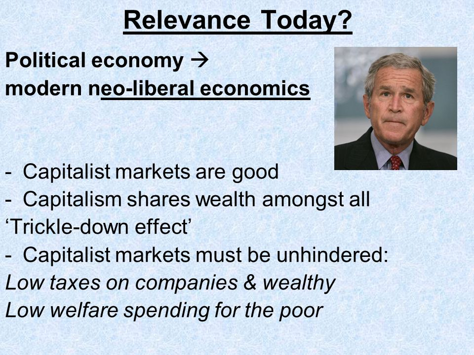 Relevance Today Political economy  modern neo-liberal economics