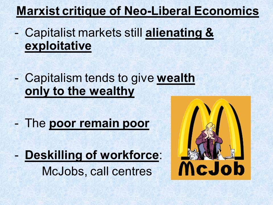 Marxist critique of Neo-Liberal Economics