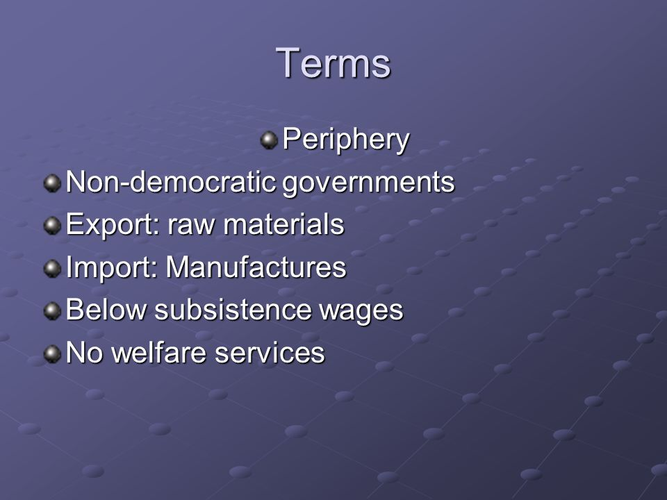 Terms Periphery Non-democratic governments Export: raw materials
