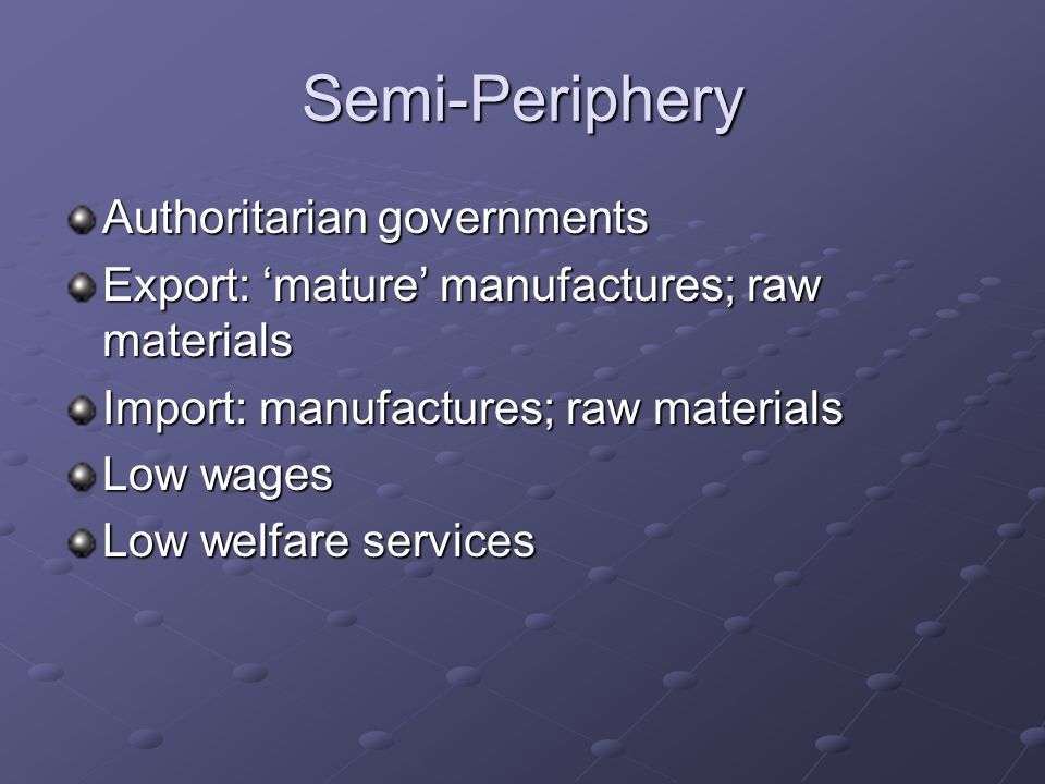 Semi-Periphery Authoritarian governments