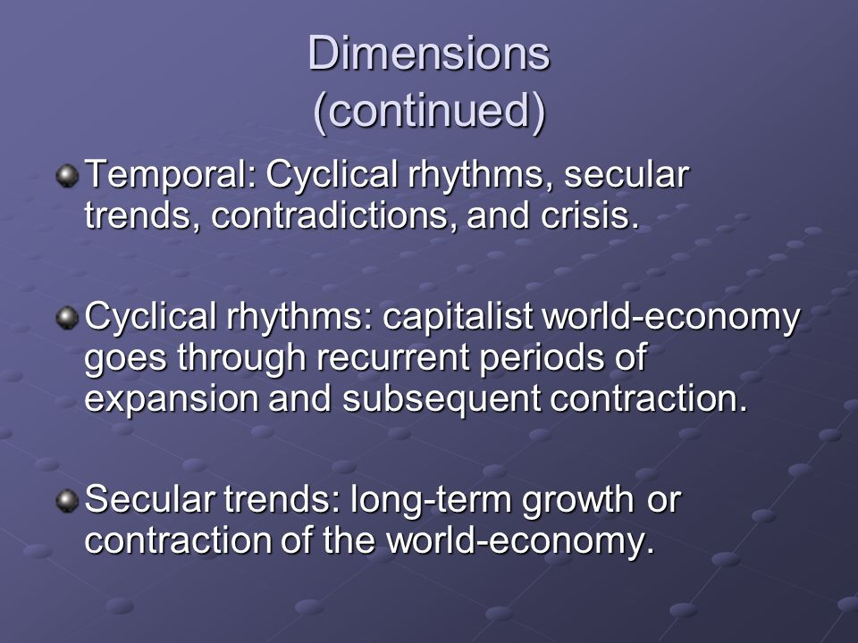 Dimensions (continued)